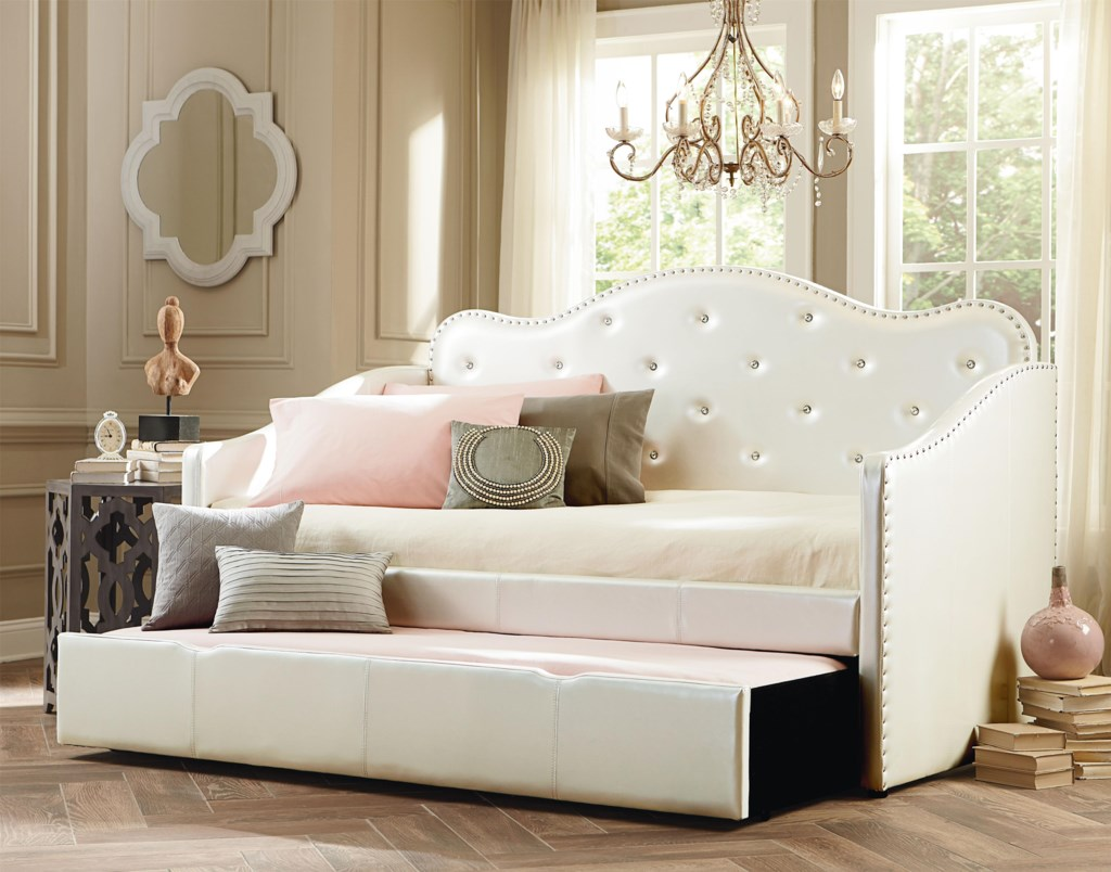 Wonderful Standard Furniture Caroline Twin Upholstered Daybed with Trundle  EP56