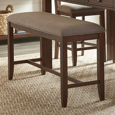 Casual Counter Height Dining Bench with Upholstered Seat