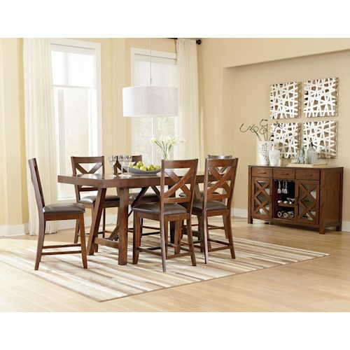 Counter Height 7 Piece Table Set With Bar Stools Omaha Brown By Standard Furniture Wilcox