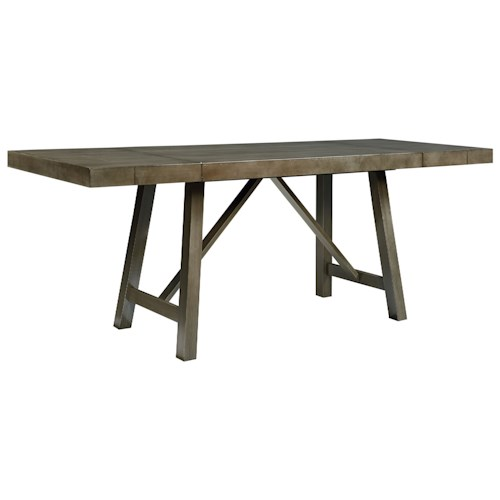 Standard Furniture Omaha Grey Counter Height Dining Room Table With Trestle Base Wayside