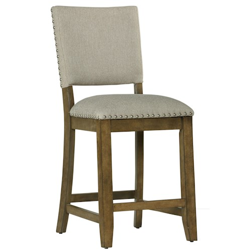 Standard Furniture Omaha Grey Counter Height Bar Stool With Upholstered Back Wayside Furniture