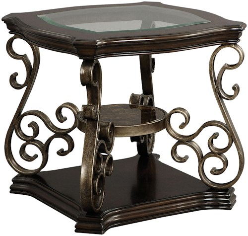 Zenith seville 21932 square end table with glass top efo for Zenith sofa table