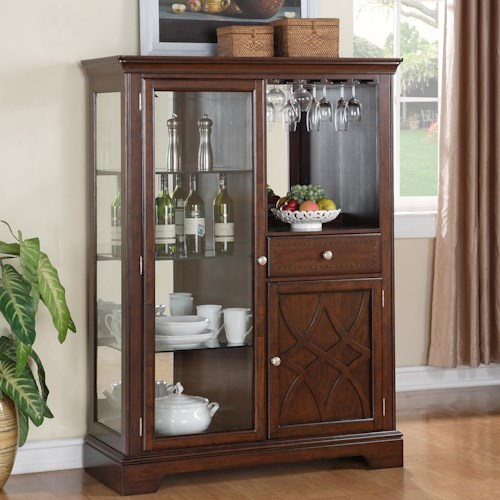 standard furniture woodmont 2 door display curio cabinet with 1 drawer standard furniture. Black Bedroom Furniture Sets. Home Design Ideas