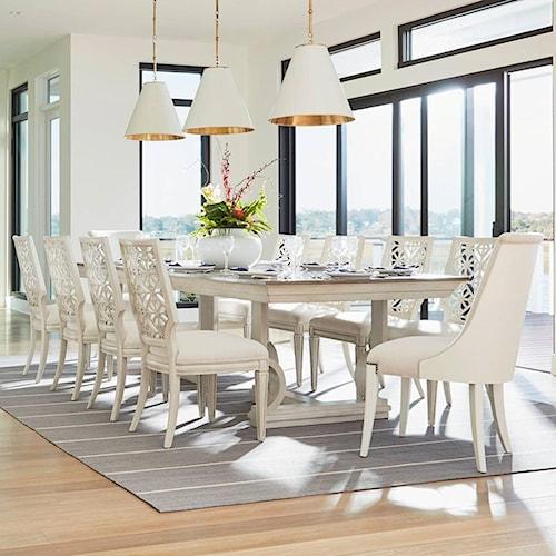 Coastal living oasis 11 piece moonrise pedestal dining for Dining room furniture atlanta theme