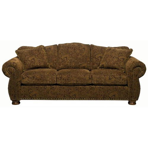Stanton 326 traditional camel back sofa with rolled arms for Sofa with only one arm