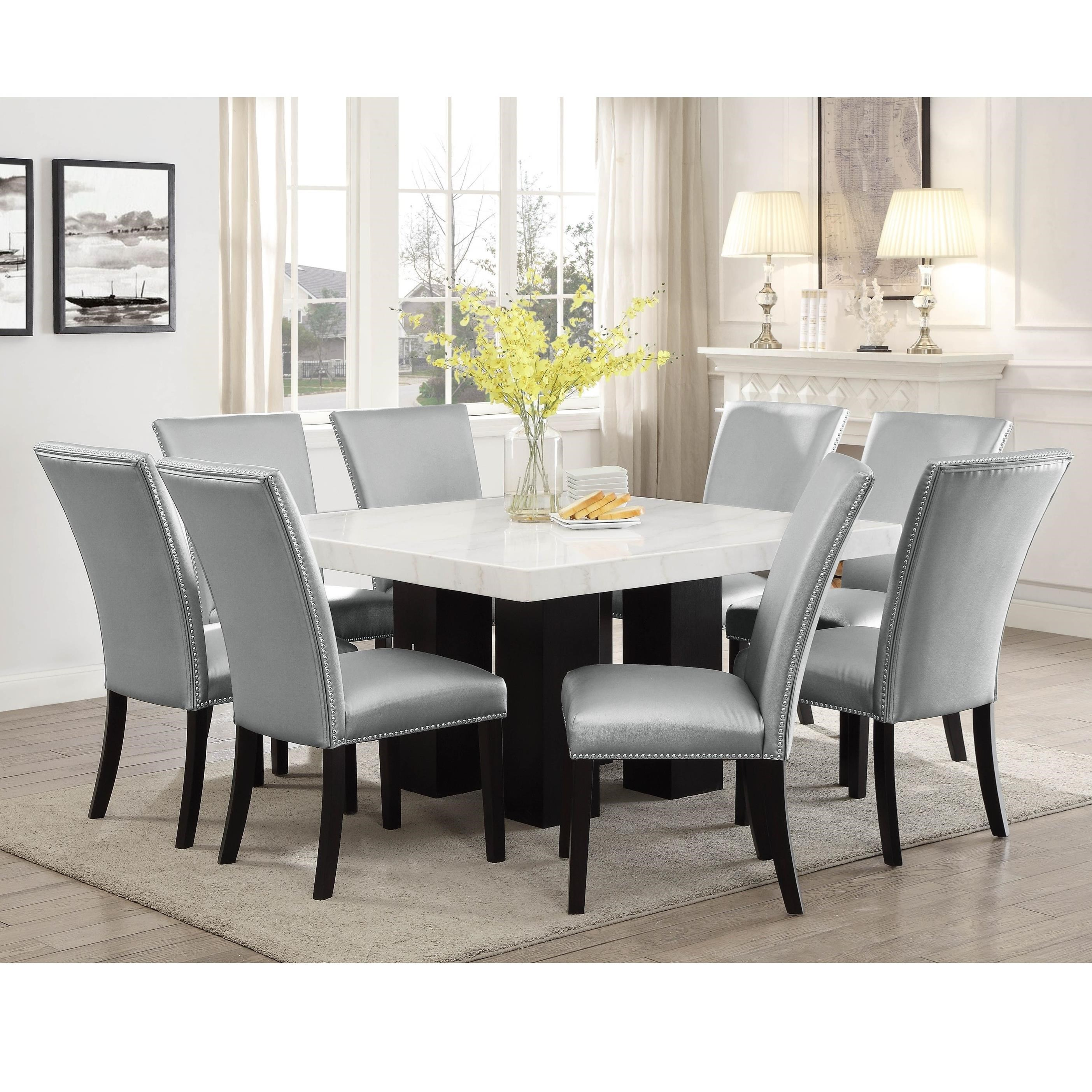 Steve Silver Camila 9 Piece Dining Set With Marble Table Top Wayside Furniture Dining 7 Or More Piece Sets