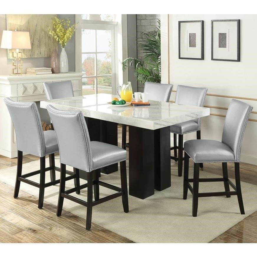 Steve Silver Camila 7 Piece Counter Height Dining Set With Marble Table Top Wayside Furniture Pub Table And Stool Sets