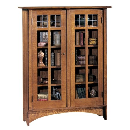 Double Glass Door Bookcase with 8 Shelves
