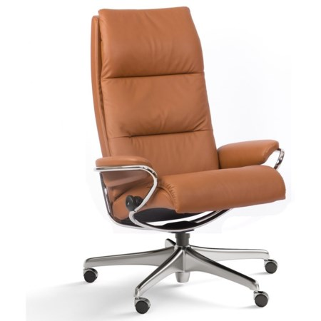 Contemporary High Back Office Chair with Star Base