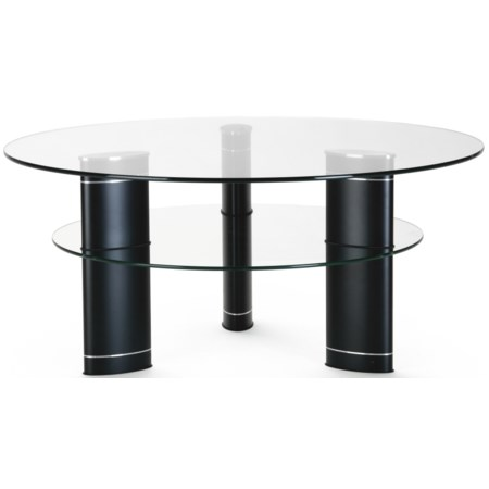 Round Cocktail Table w/ Glass Top
