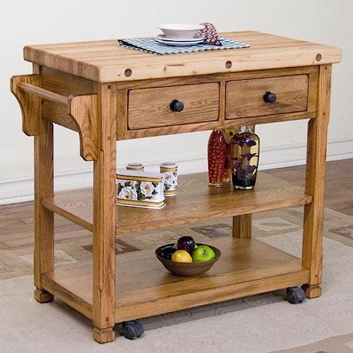 Sunny Designs Sedona Butcher Block Kitchen Island w/ Casters - Conlin's Furniture - Kitchen Islands