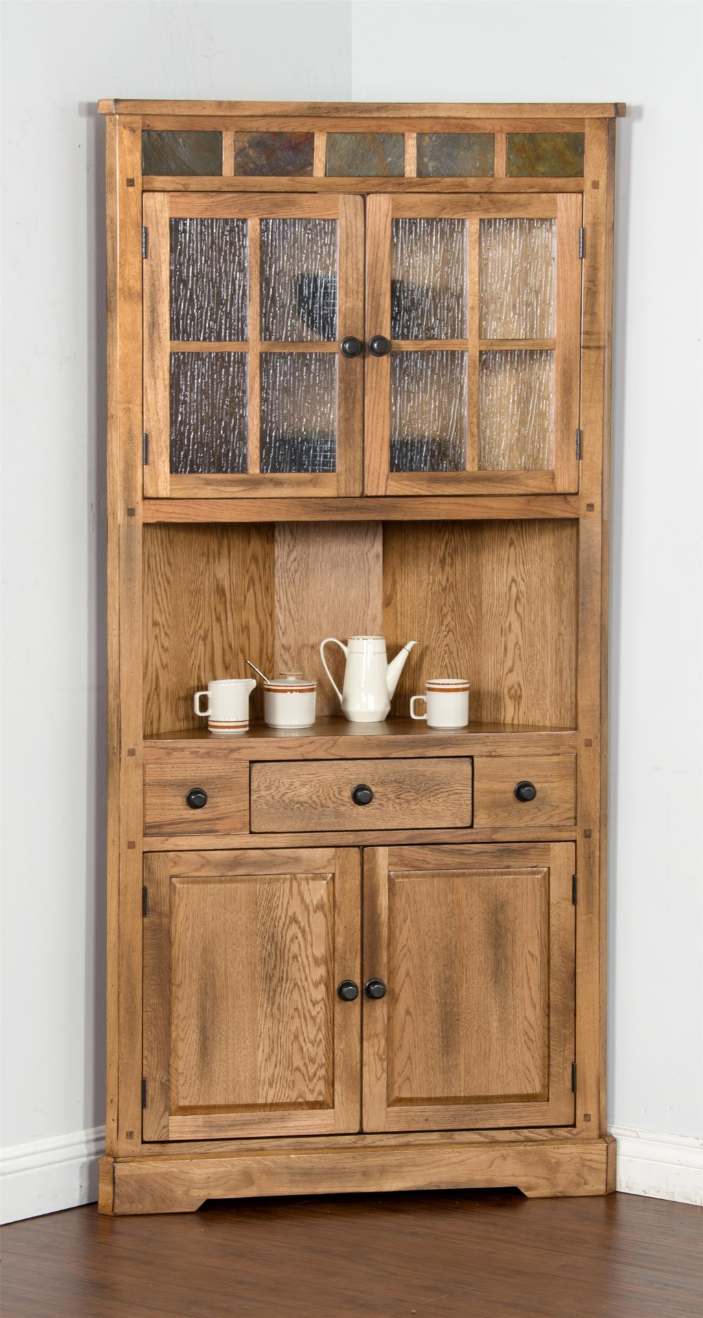 Perfect Sunny Designs Sedona 2451RO Oak Corner China Cabinet with Slate  FN59