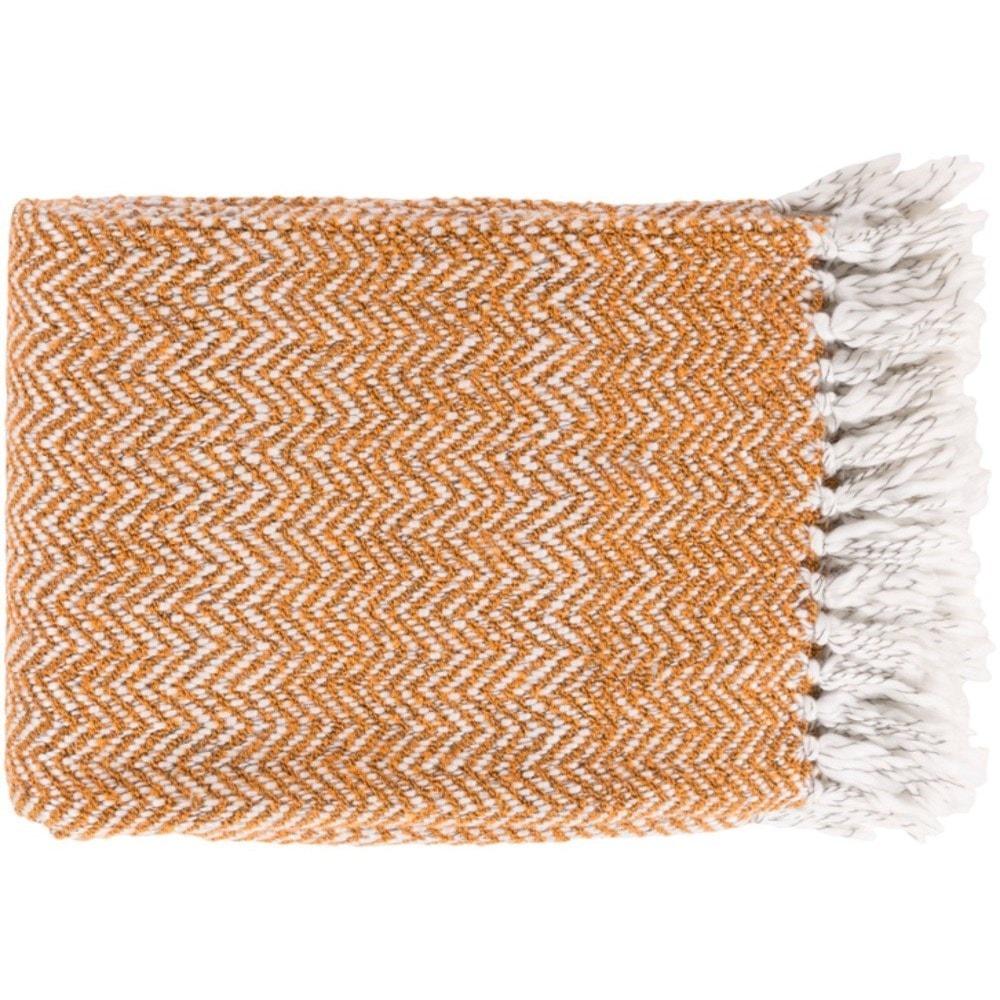 Surya Trina Burnt Orange, White, and Charcoal Throw Blanket ...