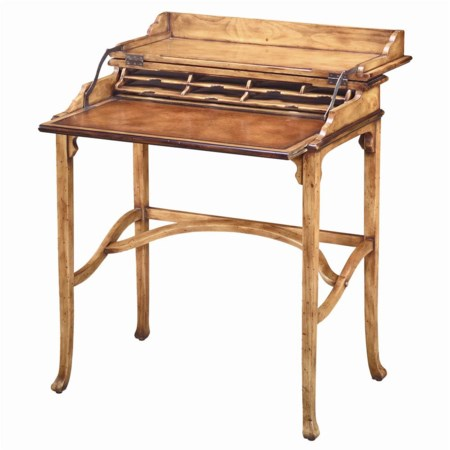 Traditional Antiqued Pine Campaign Desk