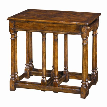 3 Antiqued Wood Parquetry Tables