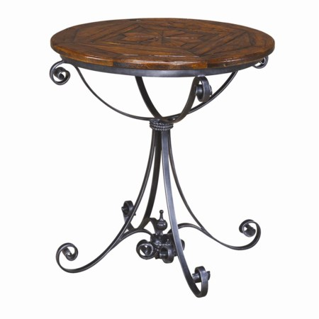 Round Wood Top End Table