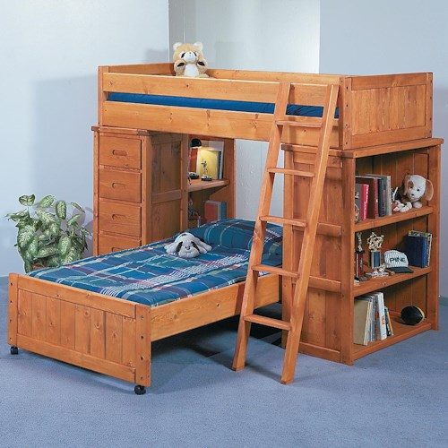 Trendwood bunkhouse twin twin roundup modular loft bed with shelf end and chest end sparks Mobile home bedroom furniture