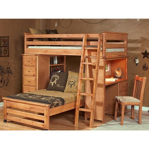 trendwood laguna loft style bunk bed with chest and desk ends conlin 39 s furniture loft beds. Black Bedroom Furniture Sets. Home Design Ideas