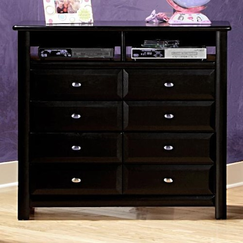 trendwood laguna media chest with 2 open compartments and