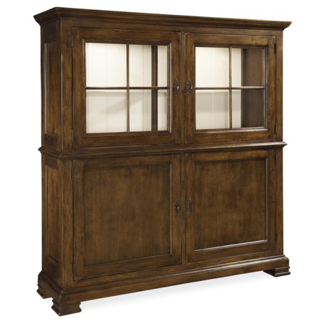 Cabinet with 4 Doors and Wine Bottle Storage and Silverware Tray