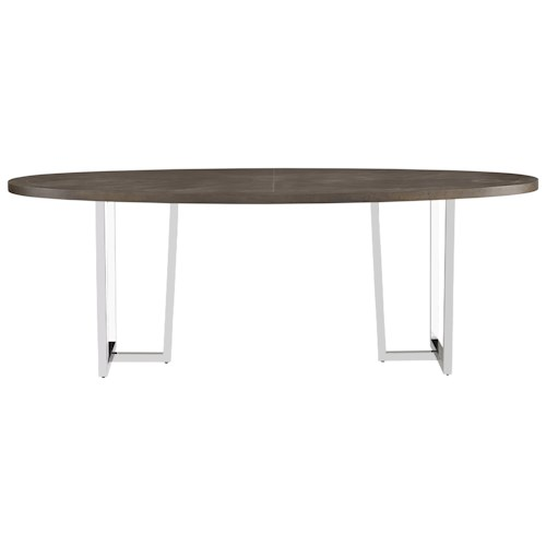 Universal curated brighton table with metal pedestals for Top rated dining room tables