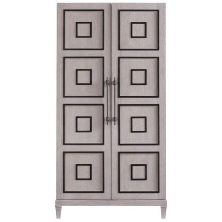 Armstrong Contemporary Armoire with Matte Black Metal Overlays
