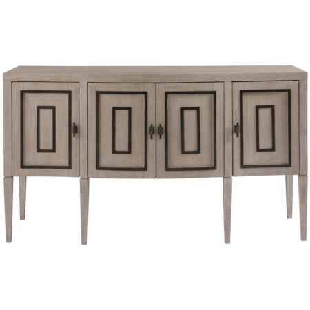 Transitional Sideboard with Matte Black Metal Overlay