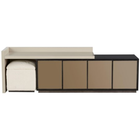 Heath Entertainment Console with Bronze Mirror Doors, Adjustable Shelves, and Accent Stool