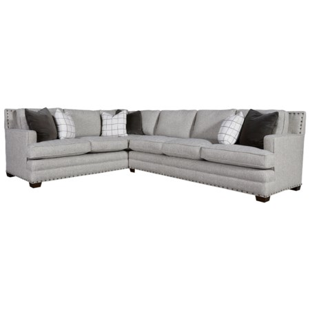 Transitional Sectional with 3 Cushion Sofa