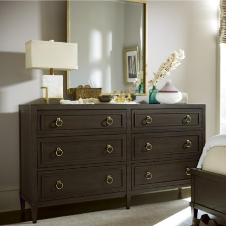 6 Drawer Dresser and Mirror Combo with Jewelry Tray