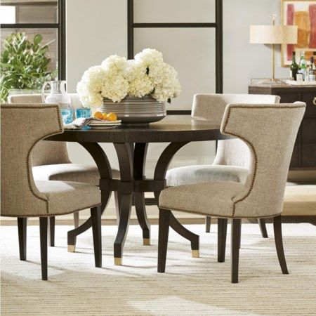 5 Piece Round Ambrose Table and Upholstered Chair Set