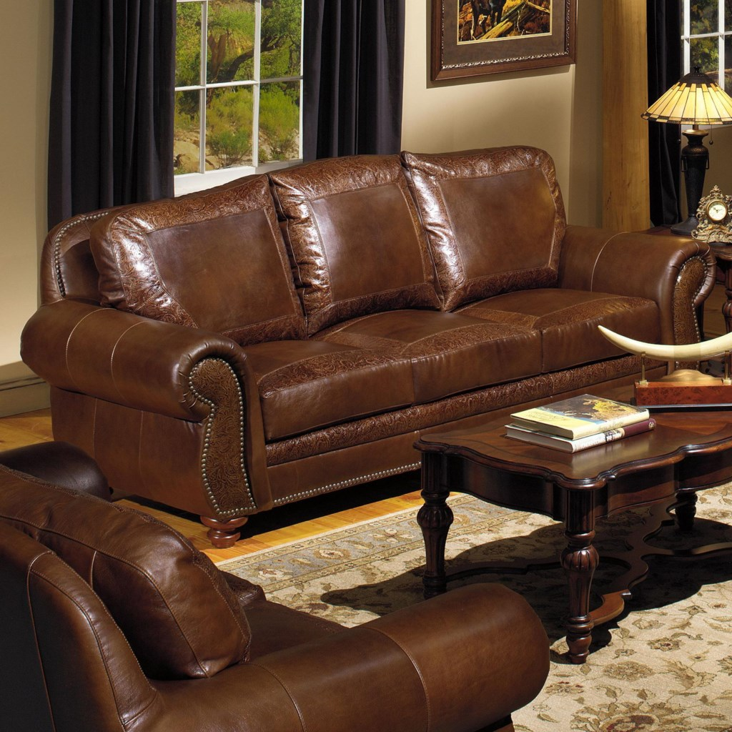 Top USA Premium Leather 8555 Traditional Leather Sofa with Nailhead  UX57