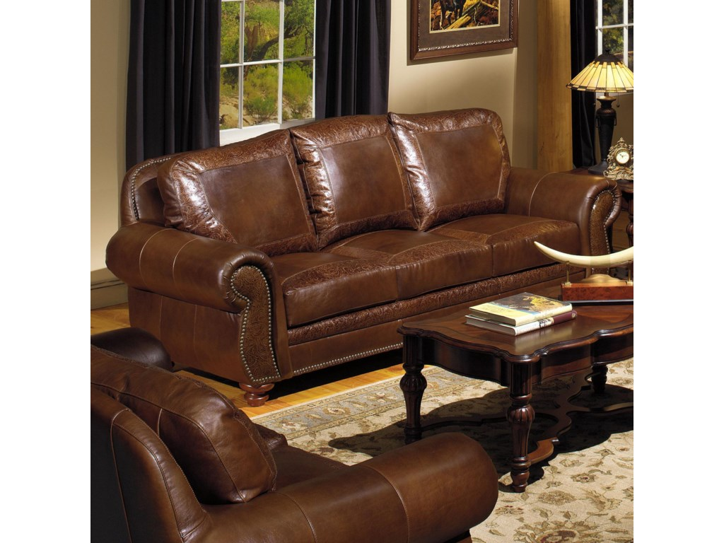 Leather sofa traditional traditional furniture style town for Traditional leather sectional sofa