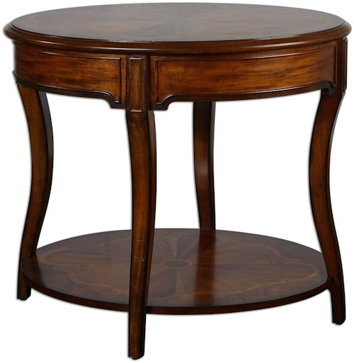 Accent furniture corianne round lamp table rotmans end for Furniture 0 percent financing