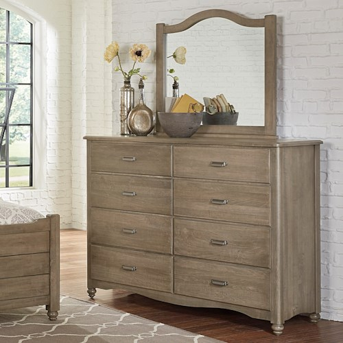 Solid wood bureau arched mirror american maple by for Solid maple wood bedroom furniture