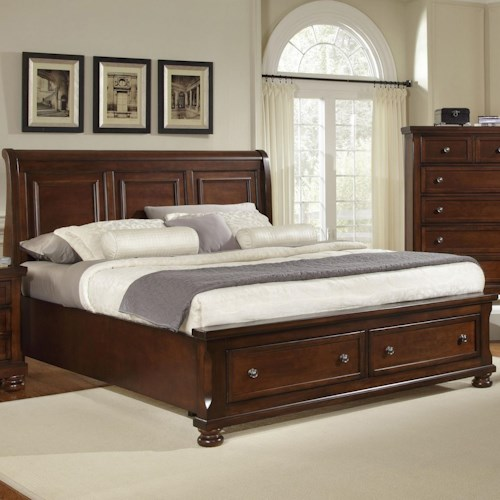 Vaughan bassett reflections queen storage bed with sleigh for Height of platform bed