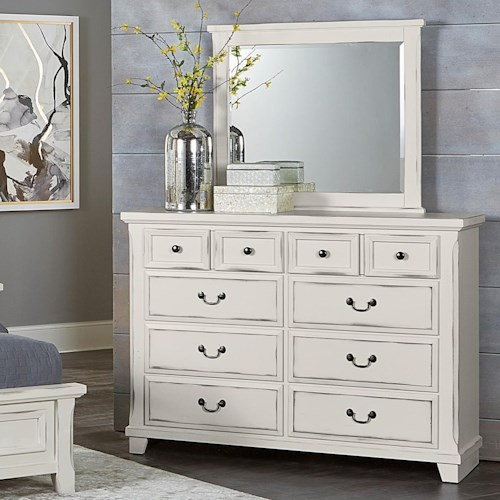 Vaughan Bassett Timber Creek Bureau Landscape Mirror Belfort Furniture Dresser Mirror Sets