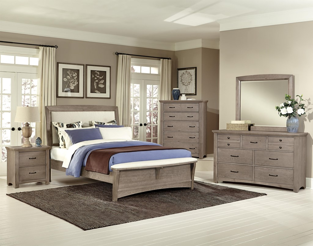 Vaughan Bassett Transitions King Upholstered Bed, Base Cloth Linen ... for Driftwood Color Furniture  75sfw