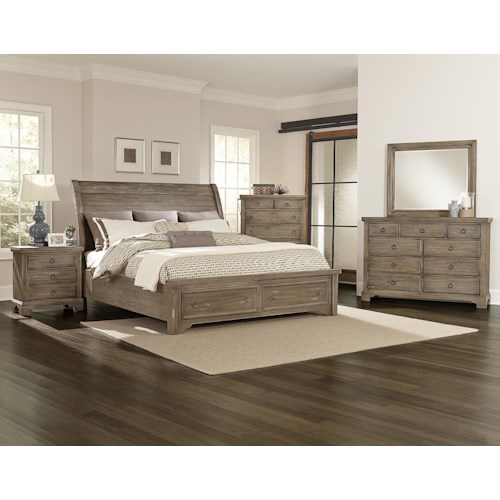 Vaughan bassett whiskey barrel king bedroom group godby for Bedroom furniture indianapolis