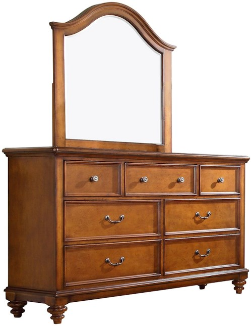 Palm beach 7 drawer dresser and arched mirror set for Furniture 0 percent financing