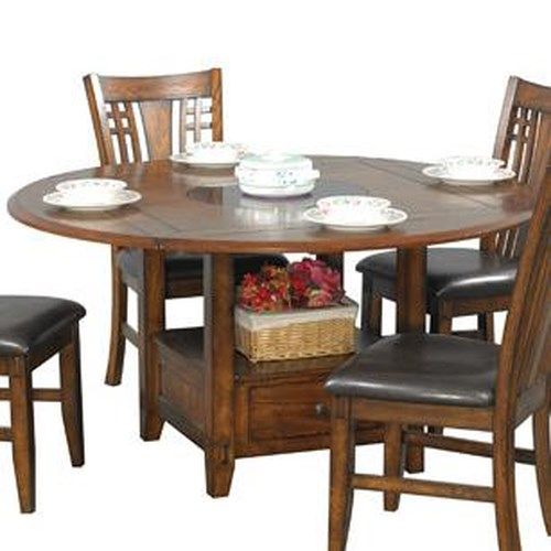 Zahara round dining table with granite lazy susan for Dining room table only