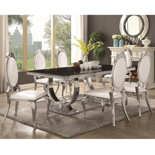 Coaster Antoine 7 Piece Dining Set With Stainless Steel Table Fine Furniture