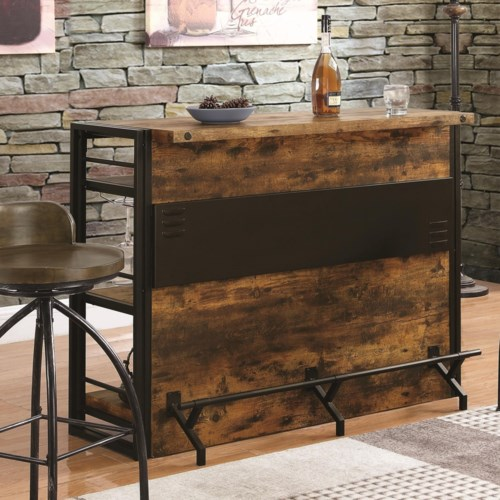 Coaster Bar Units And Tables Rustic Unit With Stemware Rack Fine Furniture