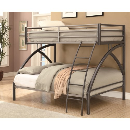 Coaster Bunks Twin Over Full Contemporary Bunk Bed Fine Furniture