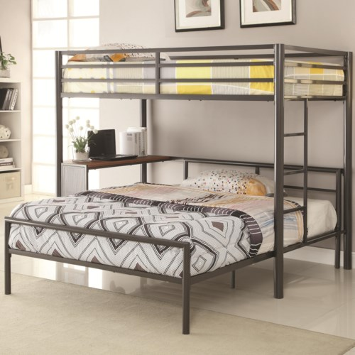 Coaster Bunks Metal Twin Over Full Workstation Loft Bed Fine Furniture