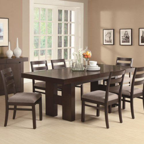 Coaster Dabny 7 Piece Rectangular Dining Table Set With Pull Out Extension Leaf Fine Furniture