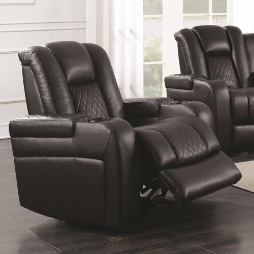 Coaster Delangelo Casual Recliner With Cup Holders Storage Console And Usb Port Fine Furniture