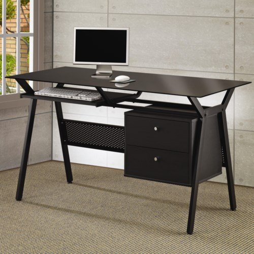 Coaster Metal And Gl Computer Desk With Two Storage Drawers