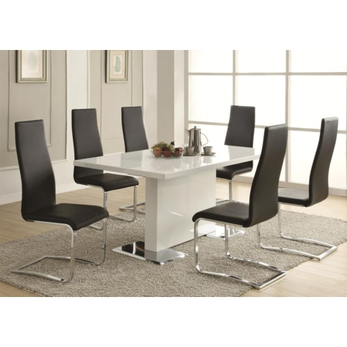 Coaster Modern Dining 7 Piece White Table Black Upholstered Chairs Set Fine Furniture