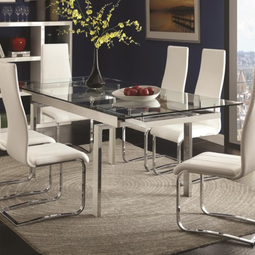 Coaster Modern Dining Contemporary Gl Table With Leaves Fine Furniture